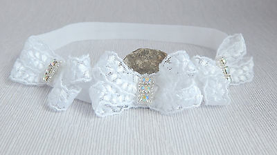 Three bows headband, white baby hair band for baptism, christening, Handmade UK