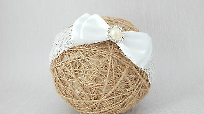 Christening Baby Bow hair band, wedding baptism wide ivory toddlers headband UK