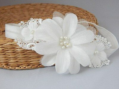 Christening hair band with flower and lace, baptism wedding handmade headband UK
