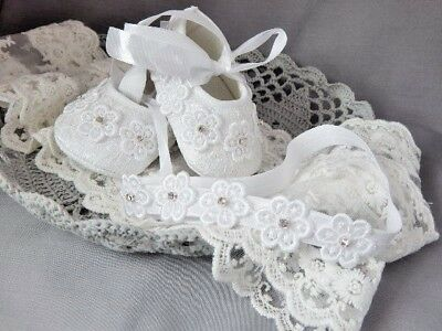 Baby shoes and headband set for baptism christening, Fdh handmade white shoes