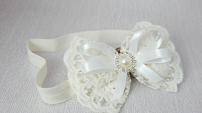 Ivory baby bow headband lace headband for christening baptism, Handmade in UK