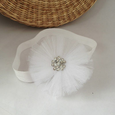 White tulle baby headband hair band for christening baptism wedding tulle flower