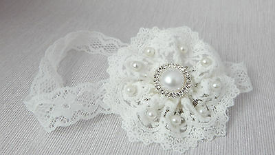 Handmade baby flower headband for baptism, christening hair band, lace flower