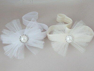 White ivory tulle baby bow headband hair band for christening baptism wedding,