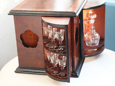 Rarity antique liqueur cabinet / bar with 2 carafes and 12 shot glasses