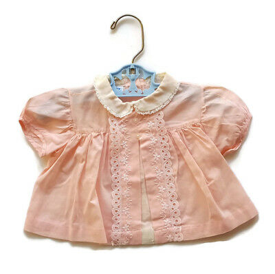Vintage Baby Dress Pink Lace Pemay Mid Century Infant Girl 6 - 9 month