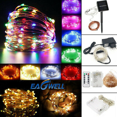 10~400 LED Battery/Solar/Electric/USB Copper Wire String Fairy Xmas Lights Lamp