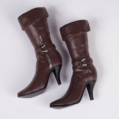1:6 Brown Mid-calf Boots High Heeled Boots Shoes for 12'' Phicen Female Body