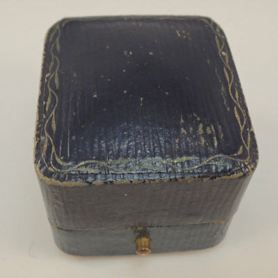 Antique Vintage Ring Box Jewellery - Jewelry Display Presentation Blue Case