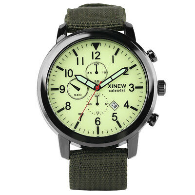 Luminous  Analog Date Display Nylon Band Strap Quartz Wrist Watch Sport Men
