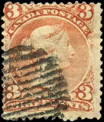 Canada #25 used F 1868 Queen Victoria 3c red Large Queen CV$20.00