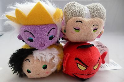New - Disney Store - Tsum Tsum Bundle - Villains Cruella, Jafar, Ursula, Lady T