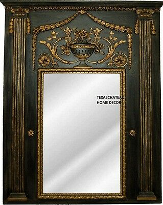 Large Ornate Antique Gold Black Trumeau Mirror French Regency Vintage Style New