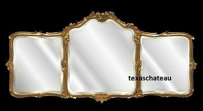 Large Ornate Antique Gold Wall Mirror French Regency Baroque Buffet Mantel New