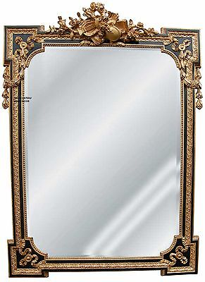 Large Ornate Antique Gold Black ~ Violin ~ Wall Mirror French Regency Neoclassic