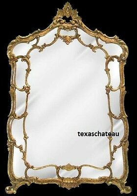 Large Ornate Antique Gold Wall Mirror Gilt French Regency Baroque Vintage Style