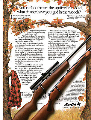 1986 Marlin Rifle Model 15Y + 781 Original Magazine Ad-Outsmart The Squirrels-22