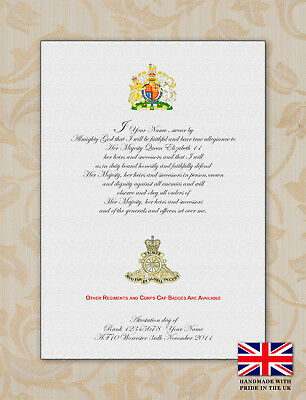 British Army Oath of Allegiance Certificate With Regiment Printed Cap Badge
