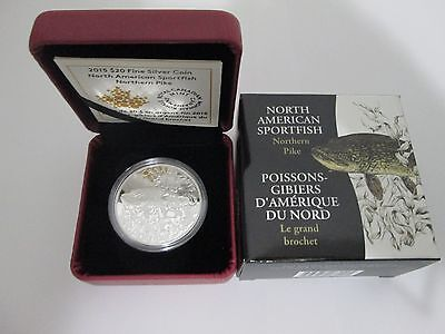1 oz. 99,99% Fine Silver Coin - Northern Pike  - Fish of North America (2015)