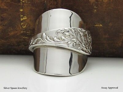 Floral Victorian Solid Sterling Silver Spoon Ring Assay Approved - Size P