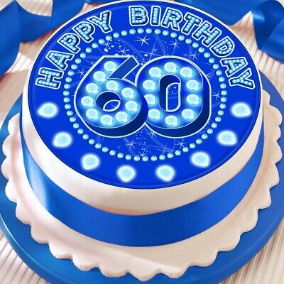Precut 7.5 Inch Large Edible Rice Paper Cake Topper Blue Birthday Age 60 2788