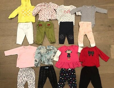 Lot Of 16 Baby Girl Fall Winter Clothes Mix & Match Outfits Size 6-9 Mo Carters