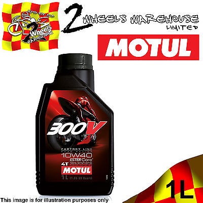 1x 1L MOTUL 300V 10W40 FACTORY LINE ROAD RACING ESTER CORE MOTOR CYCLE BIKE OIL