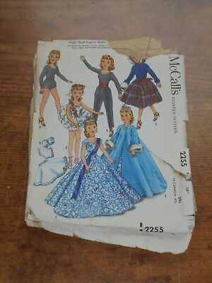 Vintage 1958 McCalls Fashion Doll Clothes Sewing Pattern Toys Crafts
