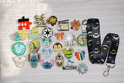 Disney trading 25 pin lot + Cheshire Cat Alice in Wonderland LANYARD HM Booster