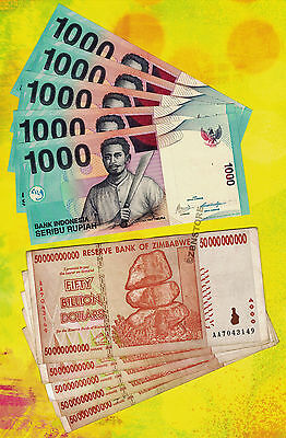 5 x 50 Billion Zimbabwe Dollars + 5 x 1000 Indonesia Rupiah ~ 10 Banknotes Total