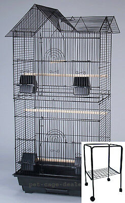 New Large Tall Canary Parakeet Cockatiel Lovebird Finch Bird Cage Black With 249