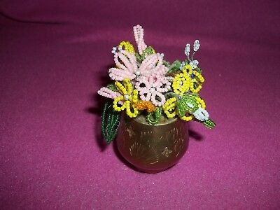 Miniature Copper/brass  Pot With Beaded Flowers