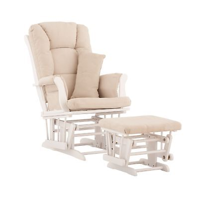 Stork Craft Tuscany Custom Glider and Ottoman with Free Lumbar Pillow White/B...