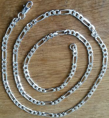 """SC 003 Silver Figaro curb chain 18"""" / 45cm x 4mm 925 stamped Plum UK GIFT BOXED"""