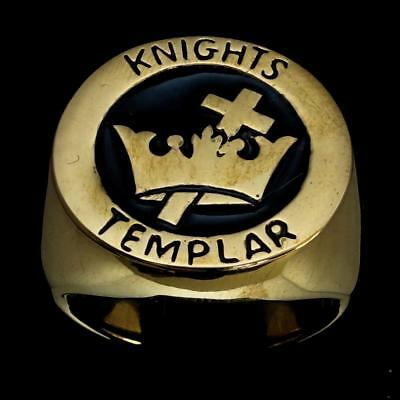 Bronze Medieval Mens Costume Ring Templar Knight Cross And Crown Black Any Size