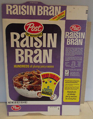 1970 Post Raisin Bran Archie Sabrina Teenage Witch Hi-Bounce Marbles Cereal Box
