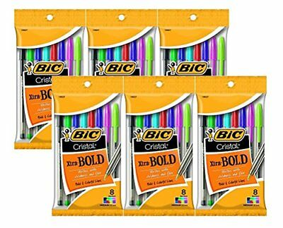 Bic Cristal Xtra Bold Ballpoint Pens 1.6mm Bold Point Assorted Colors Total 4...