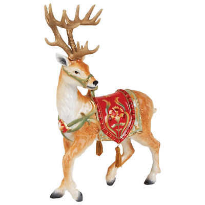 Fitz and Floyd Bellacara Xmas Deer Figurine, Holiday Christmas Door Decor New