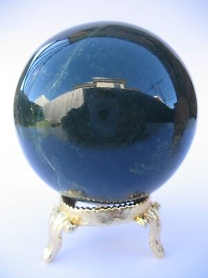 Bloodstone 5.9cm 257g Crystal Ball Orb Sphere with Gold Stand Strength (BL003)