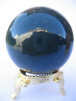 Bloodstone 4.7cm 138g Crystal Ball Orb Sphere with Gold Stand Strength (BL006)