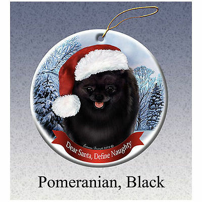 Pomeranian Black Howliday Porcelain China Dog Christmas Ornament
