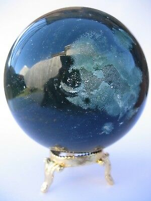 Bloodstone 7.7cm 606g Crystal Ball Orb Sphere with Gold Stand Strength (BL008)