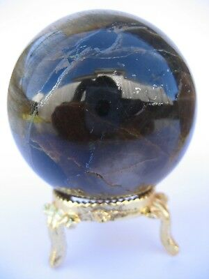 Yellow Tiger Eye 5.5cm 190g Crystal Ball Orb Sphere with Gold Stand (TEY003)