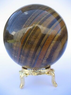 Yellow Tiger Eye 6.6cm 351g Crystal Ball Orb Sphere with Gold Stand (TEY005)