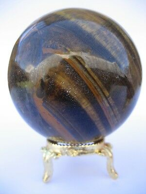 Yellow Tiger Eye 7cm 395g Crystal Ball Orb Sphere with Gold Stand (TEY006)