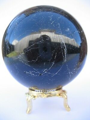 Black Tourmaline 7.8cm 573g Crystal Ball Orb Sphere with Gold Stand (BT001)