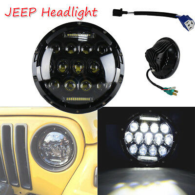 "7"" 75W 13 LED Car CREE Headlight Halo Angel Eyes Hi/Lo DRL for Jeep Wrangler"