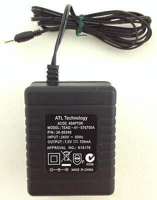 ATL Technology AC/DC Power Adapter Model TEAD-41-070700A P/N 26-00349 7.5V 700mA