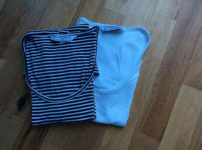 White Company Ladies Tee Shirts White And Navy Stripe Size Small