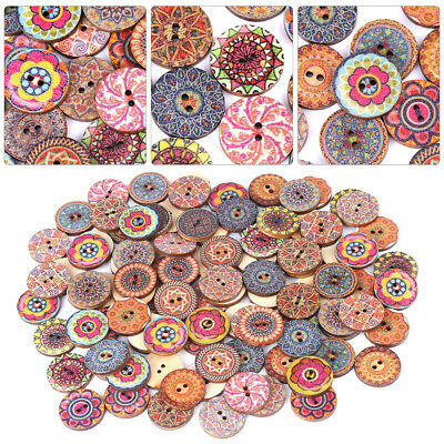 100X Multi Design Round 2-hole Wood Buttons Decorative Vintage Patchwork DIY 2cm